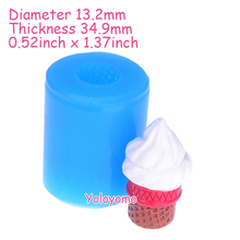 Free Shipping G448YL 3D Ice Cream Mold - Kawaii Ice Cream with Cone Push Mold Miniature Food Resin Mold, Wax Mould, Fimo Clay