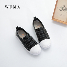 WUMA 2017 genuine leather new arrival spring and autumn casual sneakers kids brand Children Sport Shoes Black baby girl shoes(China)