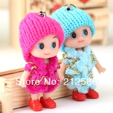 2014 cute 8cm soft baby doll toy for girls with strap as bag pendant mobile phone charm christmas wedding doll gift