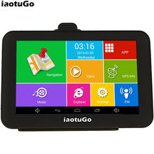 "Original iaotuGo 5"" Capacitive Android Car GPS Truck Navigator Android 4.4.2 Quad Core 1.3GHz,8G,WIFI,AV-IN,Bluetooth FM"