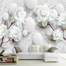 Custom 3D Stereoscopic Mural Wallpaper European Fashion Beautiful White Peony Bedroom TV Backdrop Wall Paper Modern Home Decor