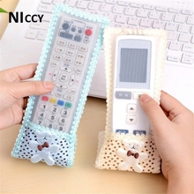 1pc Remote Control Cover For TV Air Conditioner Cartoon Lace Remote Control Protective Dustproof Covers S/M/L Blue Pink Beige