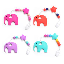Silicone Elephant Pacifier BPA Free Baby Teether Hand made Funny Colorful Bead Clip Holder Pacifier Clips Soother Chain For Baby