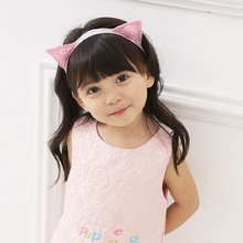 Embroidered cat ears headband pink ears hair clip children cartoon solid model of elastic hair bands kids hairband for headwear