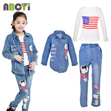 Children Sports Suit Autumn Girls clothing set 2-12 Years Kids Denim Coat & Long Sleeve T Shirt & Jeans 3pcs China Clothes A2120