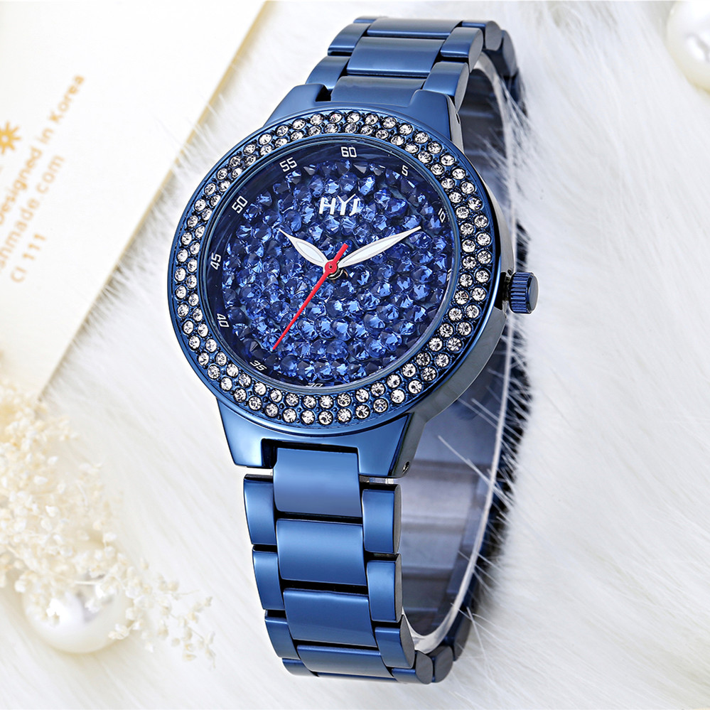 New fashion women watch royalblue full stainless steel female watch HYJ vintage watch women dress watches h550 free shipping<br>
