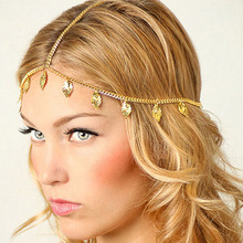 New Beach Bohemian Gold Plated Head Chain Hair Jewelry Tassel Leaves Hair Accesories Boho Headband Lots 12 Pcs