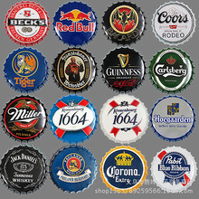 "20pcs/lot 35CM 14"" Route National Flag BUS beer Wine vintage Bottle Cap Retro Tin Metal Sign Soda Pop Drink Kitchen Home Decor(China)"