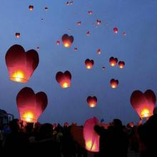 10pcs Heart Shape Chinese Lanterns Paper Sky Fire Lamp For Wish Wedding Party Bachelorette Party Balloons