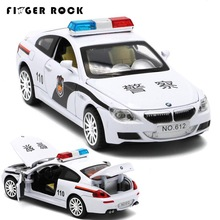 M Series Diecast Metal Car Model 1:32 Police Car with Sound and Light Mini Pull Back Alloy Cars Boy Simulation Auto Toys(China)