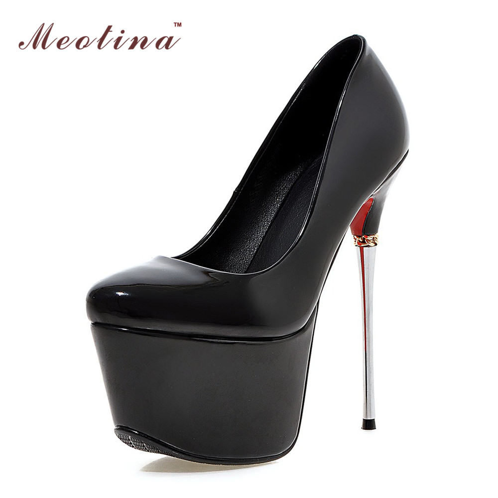 Meotina Plus Size 9 10 Shoes Women Sexy High Heels Platform Extreme High Heels Ladies Shoes Club Party Shoes Wedding Pumps Gold<br>