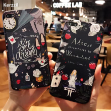 Kerzzil Relief Alarm Clock Dream Phone Cover  For iPhone 6 7 6S Plus Cute Cartoon Alice Princess Cover Back For iPhone 7 7 plus