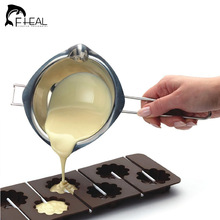 FHEAL New Chocolate Melting Pot Stainless Steel Furnace Heated Milk Bowl with Handle Heated Butter Tool Baking Pastry Tools(China)