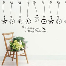 Christmas Christmas Balls Bells Hanging Chain Wall Sticker Home Decoration Stores Showcase Decorations Window Stickers(China)