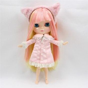 Poupée nue BL6022/0828 rose de mélange jaune cheveux longs cheveux raides avec une frange commune nude poupée glacée