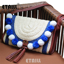 Small Hippie Boho Cross Body Bohemian Bag Woven Straw Bag Summer Handmade Indian Knitting Beach Luxury Famous Brand Shoulder Bag