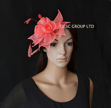 2017 NEW 12 colours Coral Feather Fascinator sinamay fascinator hat with cocktail feather for wedding,race.