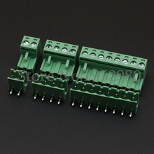 20 Set 5.08MM Pitch PCB Pluggable Terminal Block Connector 2/3/4/5/6/7/8/9/10P Right Angle Open KF2EDGK Green(China)
