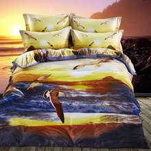 FS-758 100% Cotton Sea gulls flying above ocean under sunset 4pcs Luxury bedding set queen size birds quilt covers(China)