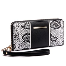 Vintage women girls PU snake leather look three square purse with sleek interior patchwork long purse coin wallet cluch hand bag