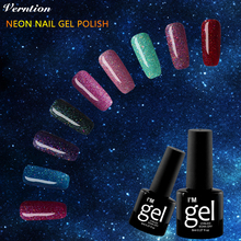 Verntion Bling Colorful Neon Gel Polish Lak Semi Permanent Soak Off UV Color Gel Nail Polish Top Base Lacquers art set