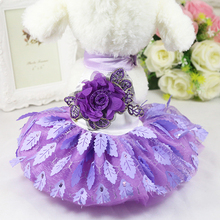 Clothes for Dogs Pet Dog Dress for Chihuahua Yorkies Shiny Leaves Princess Lace Wedding Dresses Party Clothing for Small Dogs