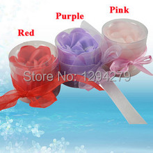 3pcs Scented Rose Flower Petal Bath Shower Soap Gift Wedding Favor Boxed 6920 P7mL1(China)