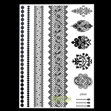 1PC Hot Flash Nontoxic Unscented Tattoo Design for Henna Mehndi Women BJ044 Black Flower Bracelet Lace Temporary Tattoo Stickers