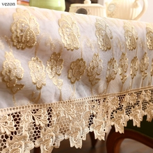 vezon New Arrival Hot Sale Luxury Gold Full Lace Tablecloth Delicate Lace Floral Table Cloth Overlay Cover Home Towel Textiles(China)