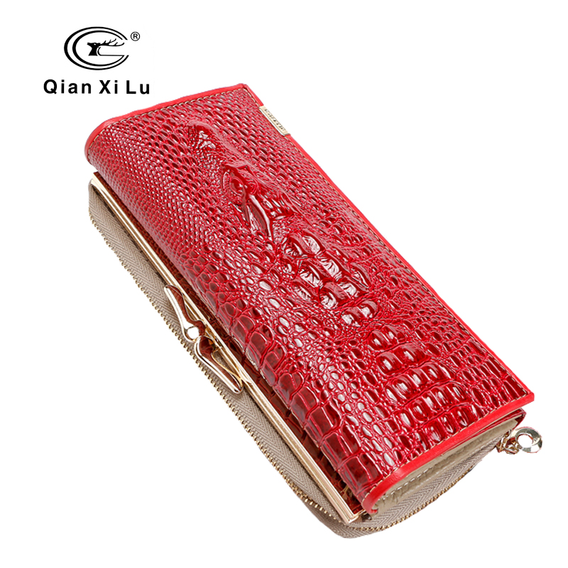 Qianxilu 2016 New Arrival High Quality Patent Leather Women Wallets for Cell phone,Hasp Zipper Purse Alligator 3D Clutch Bags <br><br>Aliexpress