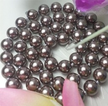 New Discount 8mm Light Brown Ocean Shell Pearl Necklace Pearl Beads Fashion Jewelry Rope Chain Necklace Natural Stone 18INCH
