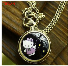 Lovely classic cartoon children enamel Hello Kitty watches Design fashion charming quartz Pocket watch necklace
