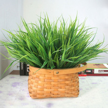 Artificial Flowers Plastic Green Grass Artificial Plant Flower Household Rustic Clover Plants Artificial Grass Wholesale(China)