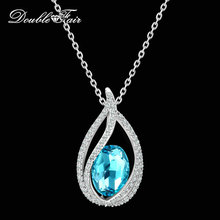 Double Fair Unique Cubic Zirconia Big Blue Crystal Necklace & Pendants Silver Color Elegant Wedding Jewelry For Women DFN292(China)