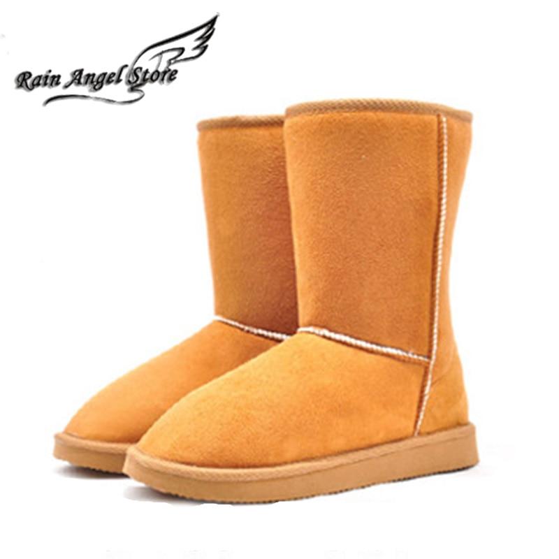 Cheap Boots Snow Women Winter Boots In-tube Warm Cotton Shoes Big Size 9 Beige/Chestnut/Brown/Black Bota Feminina<br><br>Aliexpress