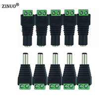 ZINUO DC12V 5pcs Male + 5pcs Female 2.1x5.5MM DC Power Plug Jack Adapter Connector Plug for CCTV Single Color LED Strip Light(China)