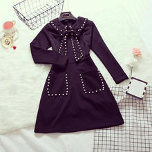 2017 winter new female Preppy style peter pan collar long-sleeved beaded dress waist small black dresses chrimas(China)