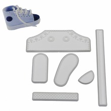 White Color Sports Shoes Fondant Silicone Molds Cake Kitchen Decorating Tools Shoes Spelling Wholesale(China)