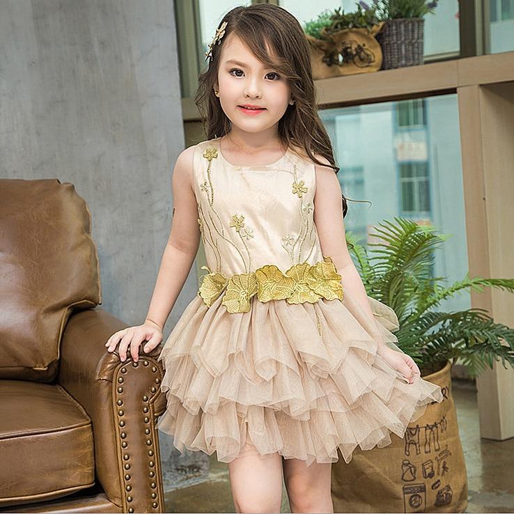 3279 Golden 3D Flowers Costume Baby Girls Dress kids dresses for girls party wedding tutu dresses wholesale kids toddler clothes<br>