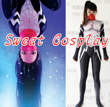 High Quality Custome Made Super Hero Silk Spider Girl Gwen Spider Adult Women Halloween Cosplay Costume