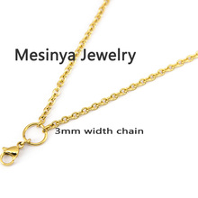 20pcs 30'' IP gold 316L Stainless steel 0.8mm wire 3.0mm width flat cable chain for floating charm glass locket ,no locket(China)