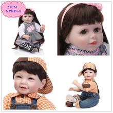 New Blue /Brown Eyes Cheap Reborn Doll With Cool Baby Doll Clothes Good Price Reborn Toddler Dolls Hot Welcome Bebe De Silicone(China)