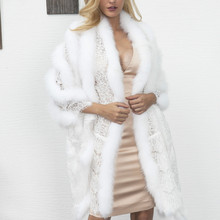 Winter Luxury Faux Fox fur Long shawl scarf For Bridal dress imitation fur lace Stitching Hollow white/black Evening dress Cloak(China)