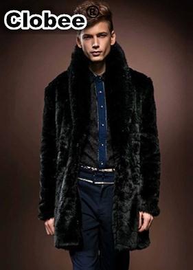 Brand New 2017 Men Style Winter Autumn Long Outerwear Coat Casual Solid Black Office Boy Faux Fur Coat Fur Collar Jacket YY1031