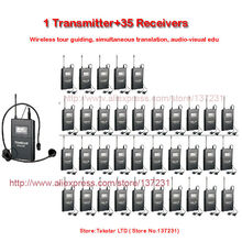 NEW Takstar WTG-500/WTG 500 UHF PLL Wireless Acoustic Transmission System 1 Transmitter+35 Receivers+1 Headworn MIC+35 Earphone(China)