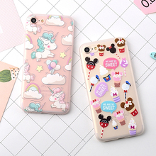 Cute Cartoon Unicorn Horse Design Phone Cases Cover For iPhone 7 For iphone7 Plus Soft TPU Scrub Protective Coque Cases YC1998