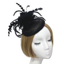 Black White Sexy Linen Yarn Mesh Party Fascinator Hair Clip Cocktail Hats for Wedding Party Decoration Supply(China)