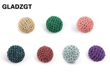 GLADZGT 6 PCS Elegant 20mm Crochet Beads flash Gold Yarn Cotton Thread Built-in acrylic bead DIY Jewellery Making Accessories