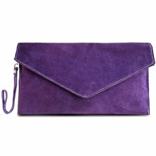 Miss Lulu Women Clutch Purse Envelope Evening Party Hand Bag Real Italian Suede Leather Cross Body Shoulder Bag Purple E1405(China)