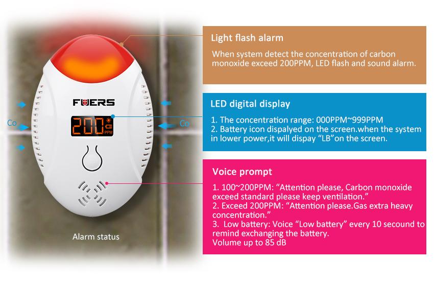 LED ekraaniga vingugaasi andur